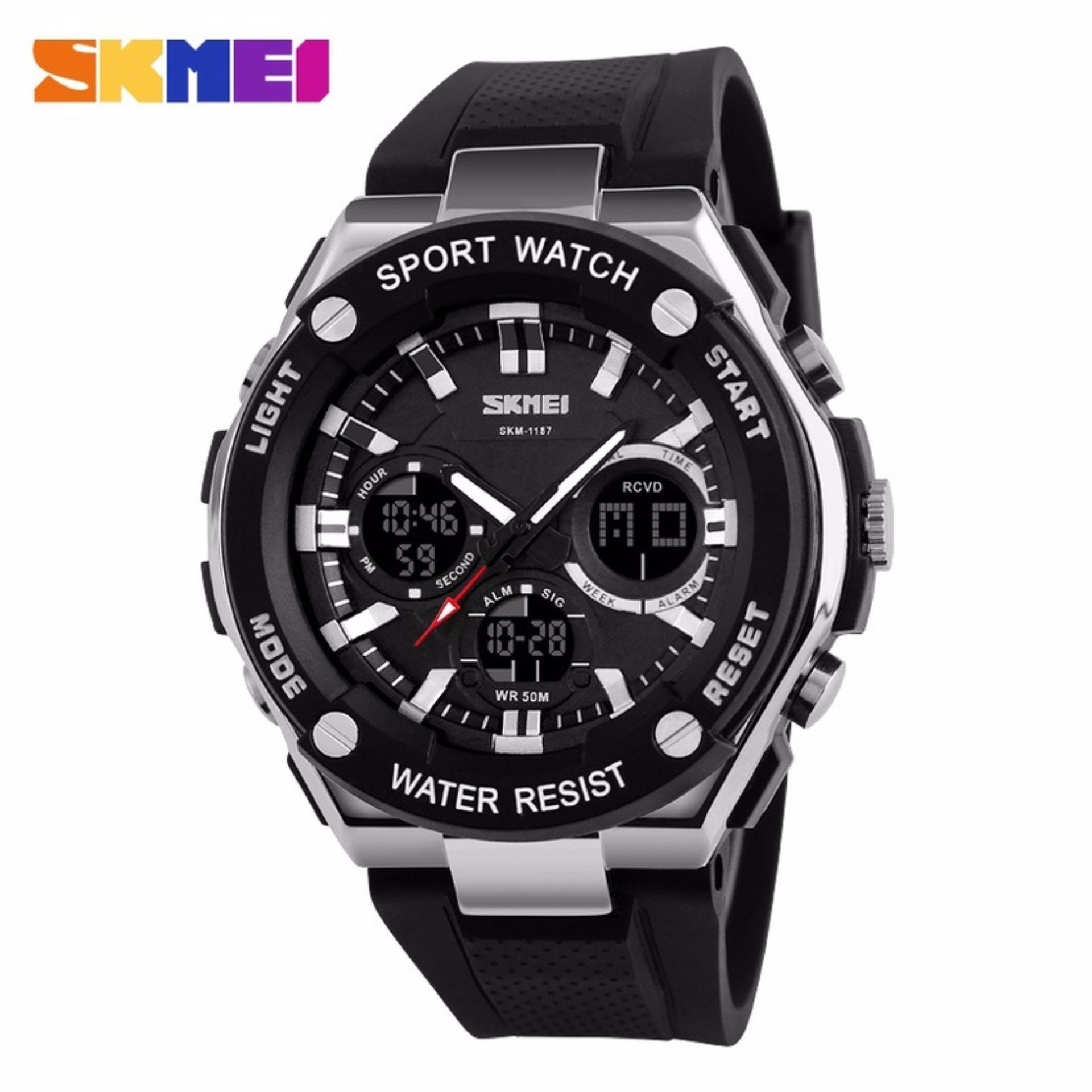 Nyaman Digunakan sehari-hari SKMEI Dual Time Men Sport LED Watch Anti Air Water Resistant WR 50m AD1187 Jam Tangan