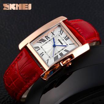 SKMEI Fashion Casual Ladies Leather Strap Watch Water Resistant 30m 1085CL / Jam Tangan Fashion Wanita Bentuk Kotak - Merah - 2