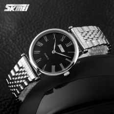 SKMEI Jam Tangan Wanita Fashion Watch 9105CS Water Resistant Anti Air WR 30m Casual Ladies Steel Strap Tali Besi Accessories Trendy Model Baru - Silver Hitam