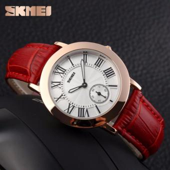SKMEI Jam Tangan Wanita Fashion Watch Water Resistant Anti Air WR 30m Casual Ladies Leather Strap Tali Kulit 1083CL Accessories Trendy Model Baru - Merah