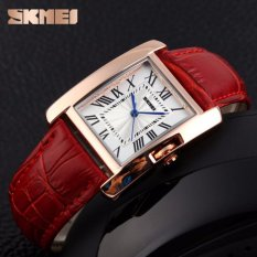 SKMEI Jam Tangan Wanita Fashion Watch Water Resistant Anti Air WR 30m Casual Ladies Leather Strap Tali Kulit 1085CL Accessories Square Trendy Model Baru - Merah