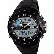 SKMEI Men Dual Time Digital Sport LED Ring AD1016 Watch Water Resistant WR 50m Jam Tangan Pria Strap Mika PU Casual Fashion Wristwatch K054 - Hitam