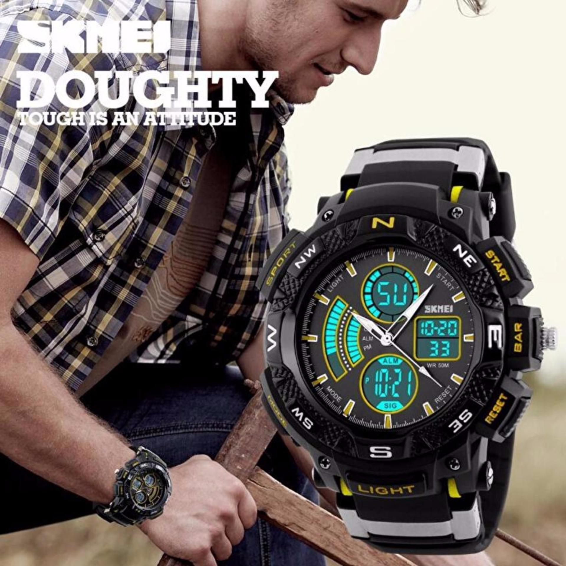... SKMEI Men Sport LED Dual Time Watch Anti Air Water Resistant WR 50m AD1211 Jam Tangan ...