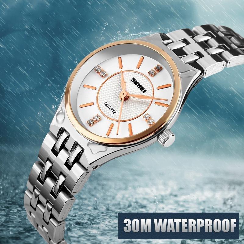 SKMEI merek jam tangan 1133 Wanita Roman nomor Fashion kasual bisnis otomatis kulit .