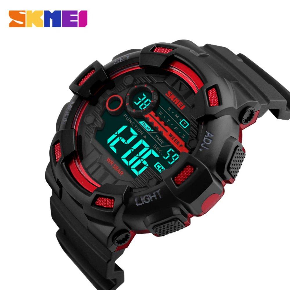 ... SKMEI merek Watch 1243 pria jam tangan Digital LED Display beberapa zona waktu 50 M tahan