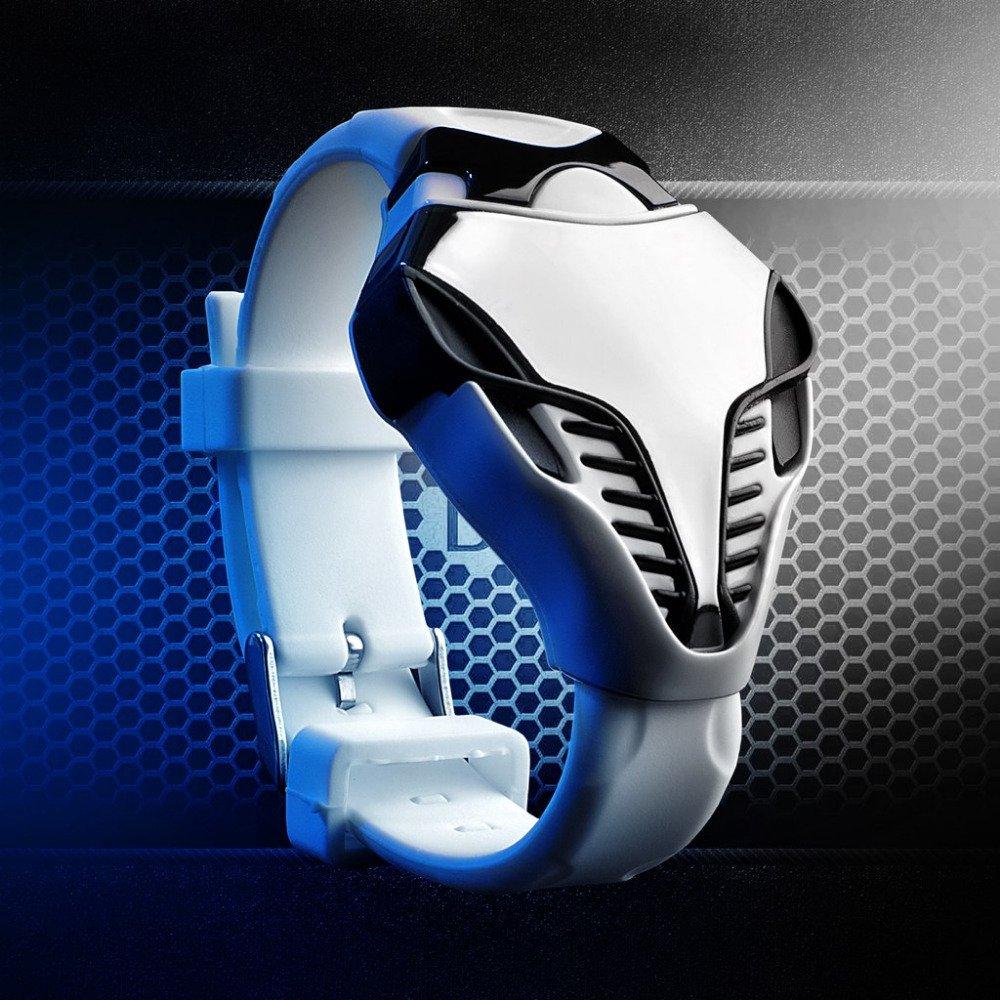 Skmei Snake Jam Tangan Pria Putih Led Biru Tali Karet 8619 White Cosmo Wanita Kulit 1081 Blue Edition