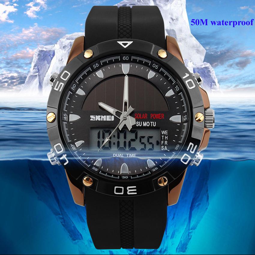 SKMEI tenaga surya Waterproof jam Analog Digital jam tangan pria wanita PU Stap .