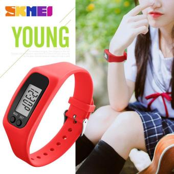 SKMEI Women Fashion Sports Watches Pedometer Calorie Sport Mileage Digital Watch Girl Colorful Silicone Strap Wristwatches 1207 - Red - intl