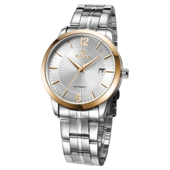 SKONE 3ATM Waterproof Round Dial Nailed Scale Calendar Display Automatic Mechanical Men Watch With Alloy Band(Rose Gold) - intl
