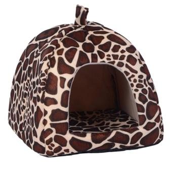 Hewan Peliharaan Strawberry Lembut Anjing Rumah Kucing Kandang Anjing Fashion Bantal Keranjang (Brown)-