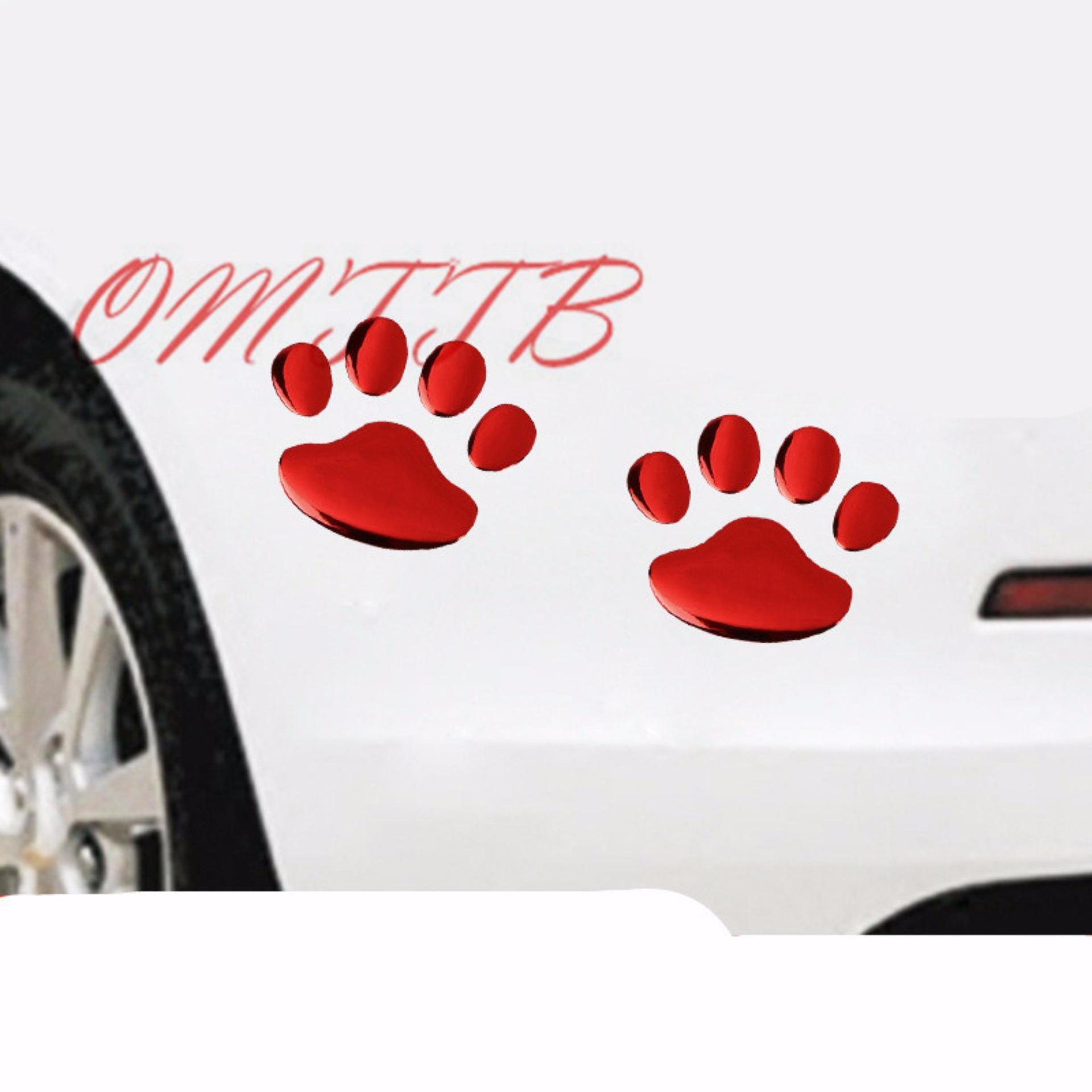 Sohoku Stiker 3D Dog Footprint / Cakar Anjing - Merah ...
