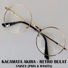Springfield Kacamata Wanita Pria Unisex Retro Bulat Akira Japan Fashion Spectacles Round Frame Eyeglasses - Gold
