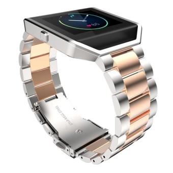 Stailess Steel Bracelet Strap Watch Band For Fitbit Blaze Rose Gold + Silver - intl