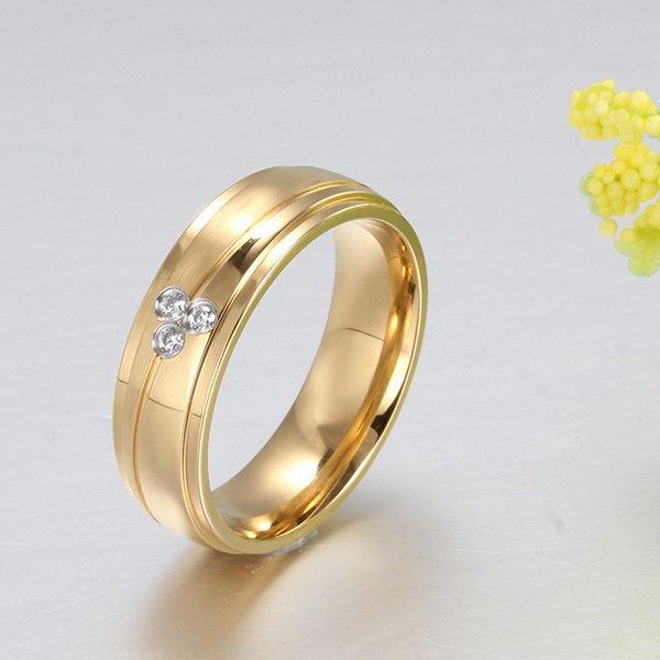 Stainless Steel berlapis emas CZ cincin untuk pertunangan cincin kawin pria wanita -