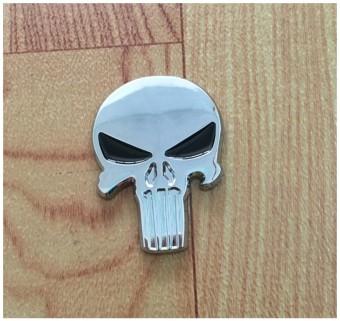 Bintang Mall Hitam Tengkorak Punisher Gaya Mobil Emblem Stiker Lencana Stiker Logam-Internasional