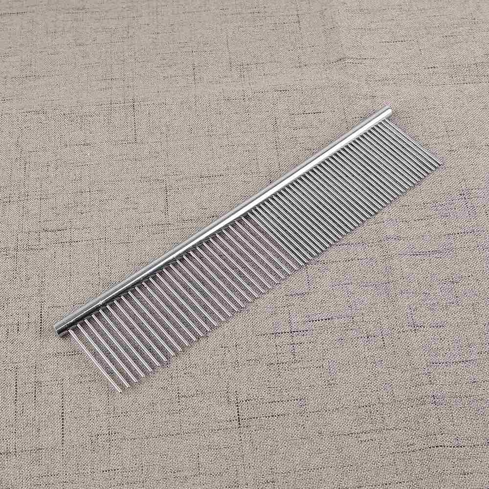 Straight Double-teeth Stainless Steel Pet Dog Cat 19*3.6cm CombGrooming Tool - intl
