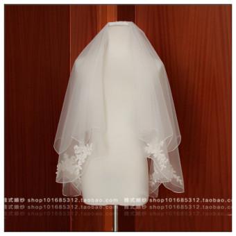 Flash Sale Susu putih pernikahan Korea renda ganda jilbab pengantin jilbab kerudung Belanja Terbaik