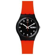 Swatch - Jam Tangan Wanita - Hitam-Hitam - Rubber Merah - GB754 Red Grin