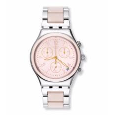 SWATCH YCS588G -  DREAMNIGHT ROSE - Chronograph - Jam Tangan Wanita - Bahan Tali Stainless Steel - Silver - Pink