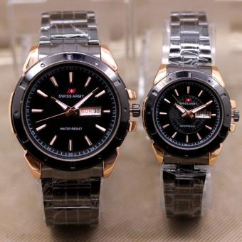 3859 Black Gold Couple Source · Swiss Army Couple Pria Stainless Steel Hitam .