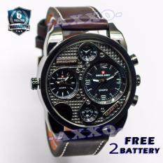 Swiss Army Dual Time - Jam Tangan Pria - Coklat Tua - Strap Kulit - SA 9100-1 L
