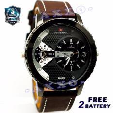 Swiss Army Dual Time - Jam Tangan Pria - Strap Kulit - Coklat Tua Variasi Putih