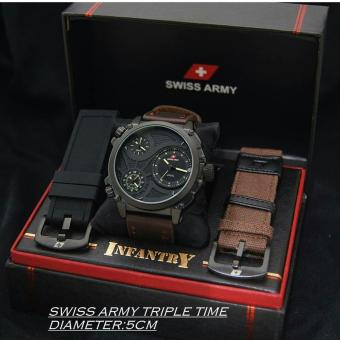 Swiss Army Infantry Full Set - Jam Tangan Pria NF4532HR - Triple Time - Tanggal Aktif