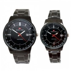 Swiss Army - Jam Tangan Couple - Stainless Steel - SA 1241 Black Couple