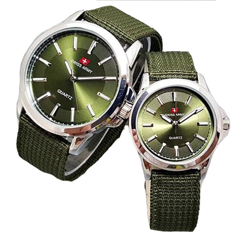 Swiss Army Jam Tangan Couple Strap Canvas SA 1577 Green Lazada Indonesia .