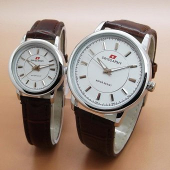 Swiss Army - Jam Tangan Couple - Strap Kulit Coklat SA100TH