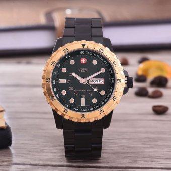 Swiss Army Jam Tangan Pria - Black/ Rose Gold - Black Dial - SA-