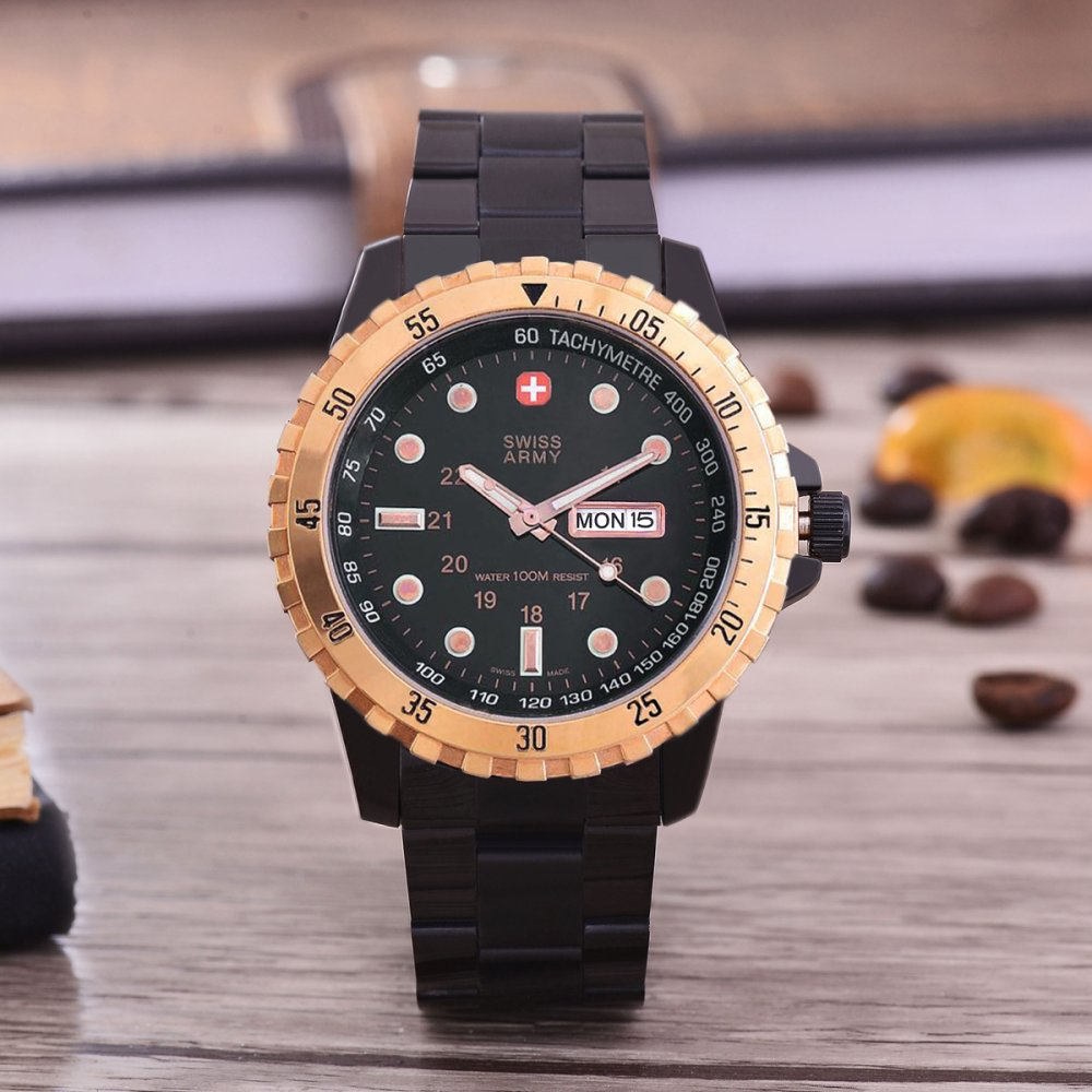 ... Swiss Army Jam Tangan Pria - Black/ Rose Gold - Black Dial - SA- ...
