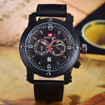 Swiss Army Jam Tangan Pria - Body Black - Black Dial - Hitam Leather - SA