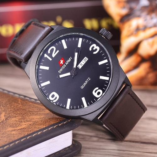 Swiss Army - Jam Tangan Pria - Body Black - Black/White .