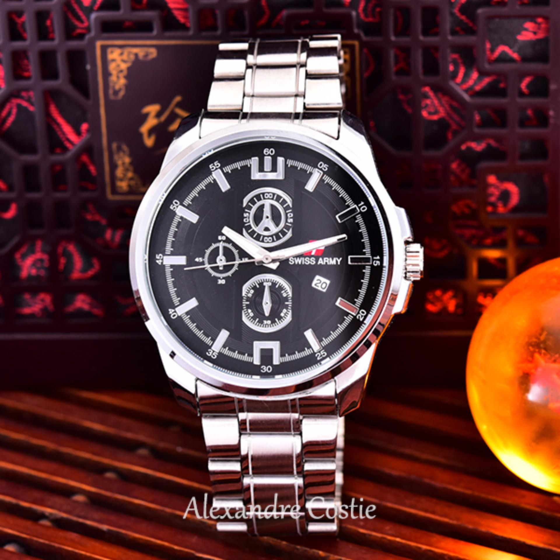 ... Swiss Army - Jam Tangan Pria - Body Silver- Black Dial - Stainless Stell Band ...