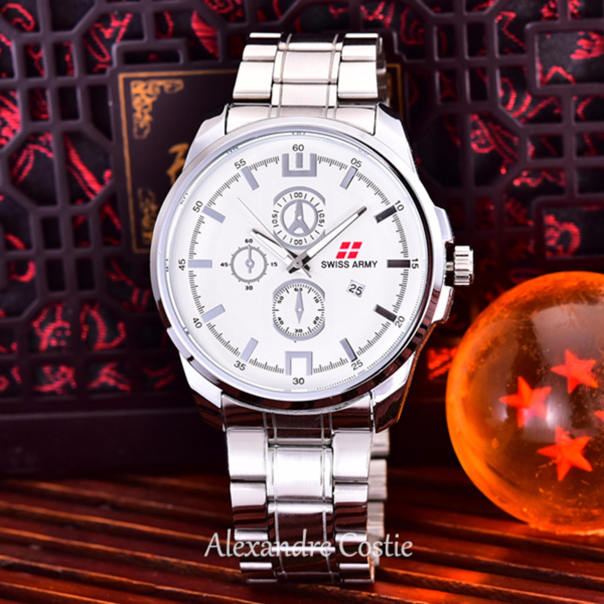 ... Swiss Army - Jam Tangan Pria - Body Silver- White Dial - Stainless Stell Band ...