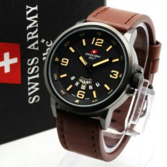 Swiss Army Jam Tangan Pria - Hitam - Strap Kulit - SA 990 T
