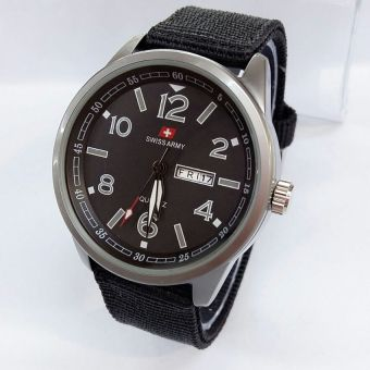 White Source Swiss Army Jam Tangan Pria Strap Canvas Hitam SA 1491 black