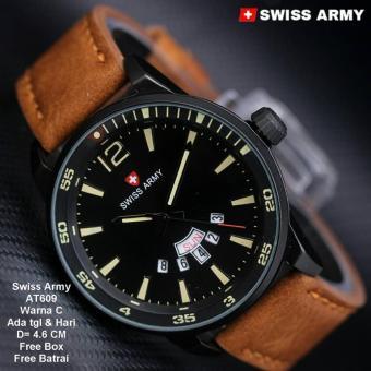 Swiss Army Jam Tangan Pria Strap Kulit Terbaru SA 3333 AD .