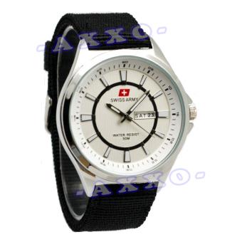 Swiss Army - Jam Tangan Pria - Tali Kanvas Hitam - Dial Putih - SA 5086