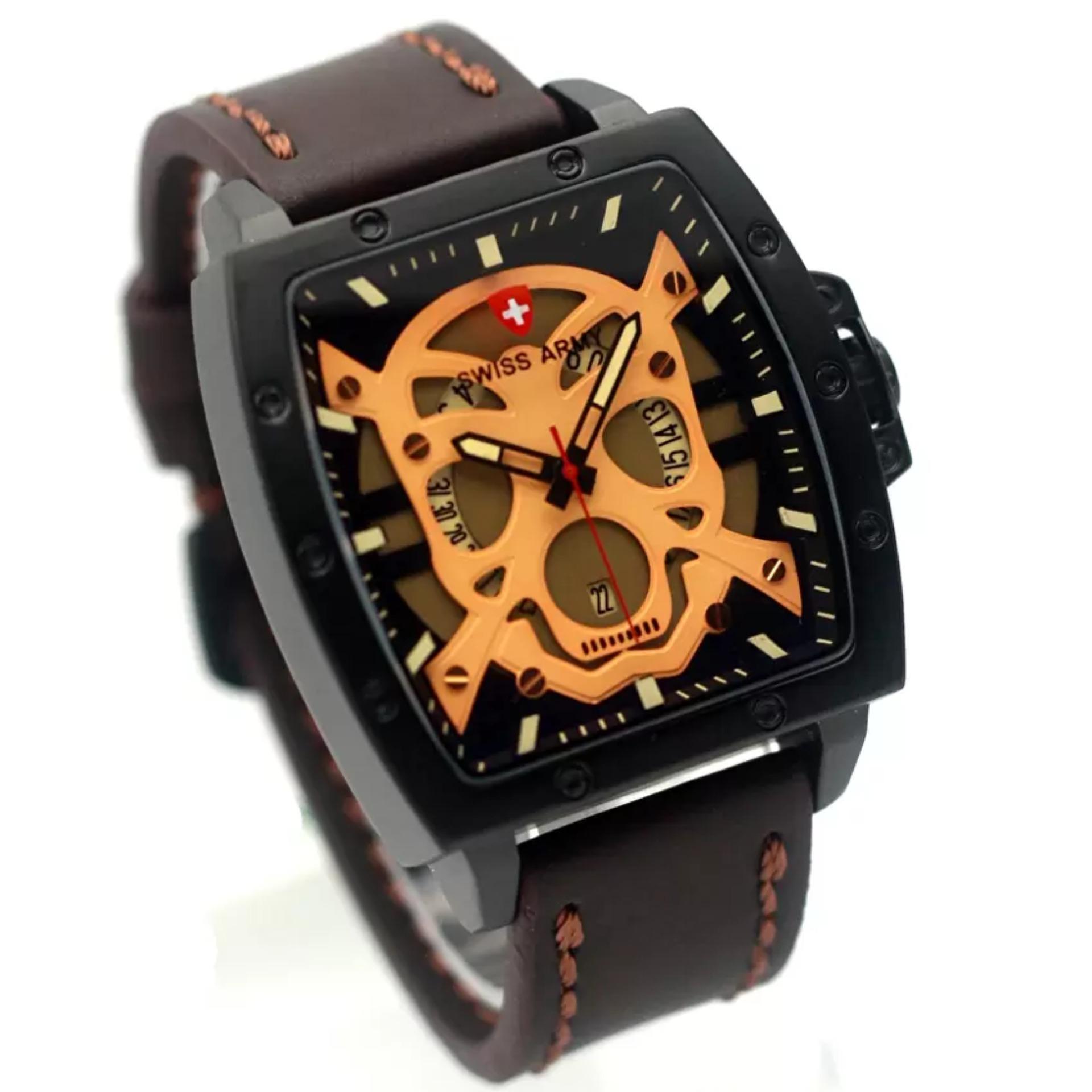 SWISS ARMY jam tangan pria terbaru original SA5263T leather strap