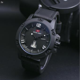 SWISS ARMY MAN-LEATHER STRAP BLACK-BLUE-TANGGAL AKTIF-SA8989