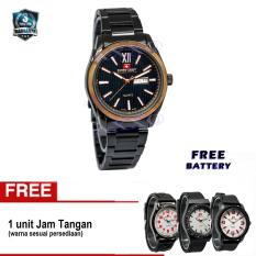 Swiss Army Men's Day Date - Jam Tangan Pria - Hitam Stainless - Bezel Gold - SA 4100 M ( 5192 Free 0063/64/65)