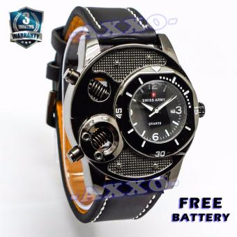 Swiss Army Unique Watch - Jam Tangan Pria - Hitam - Strap Kulit - SA 9100-2 L