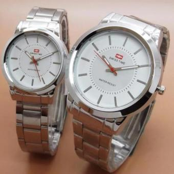 Swiss Time Elegant Couple Silver putih