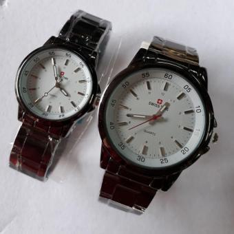 Swiss Time/Army - Jam Tangan Couple Stainless Steel S21812 hitam plat putih