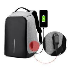 Tas Ransel Fashion Backpack Anti Maling Unisex Bag Anti Theft / Tas Punggung Anti Maling Serbaguna - Grey