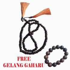 Tasbih Dewandaru Kayu Langka Laut Jawa 99 + Free Gelang Gaharu - Hitam