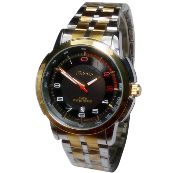 Tetonis date - Jam Tangan pria - Silver gold plat Hitam - Stainless Steel - TS3226SGH