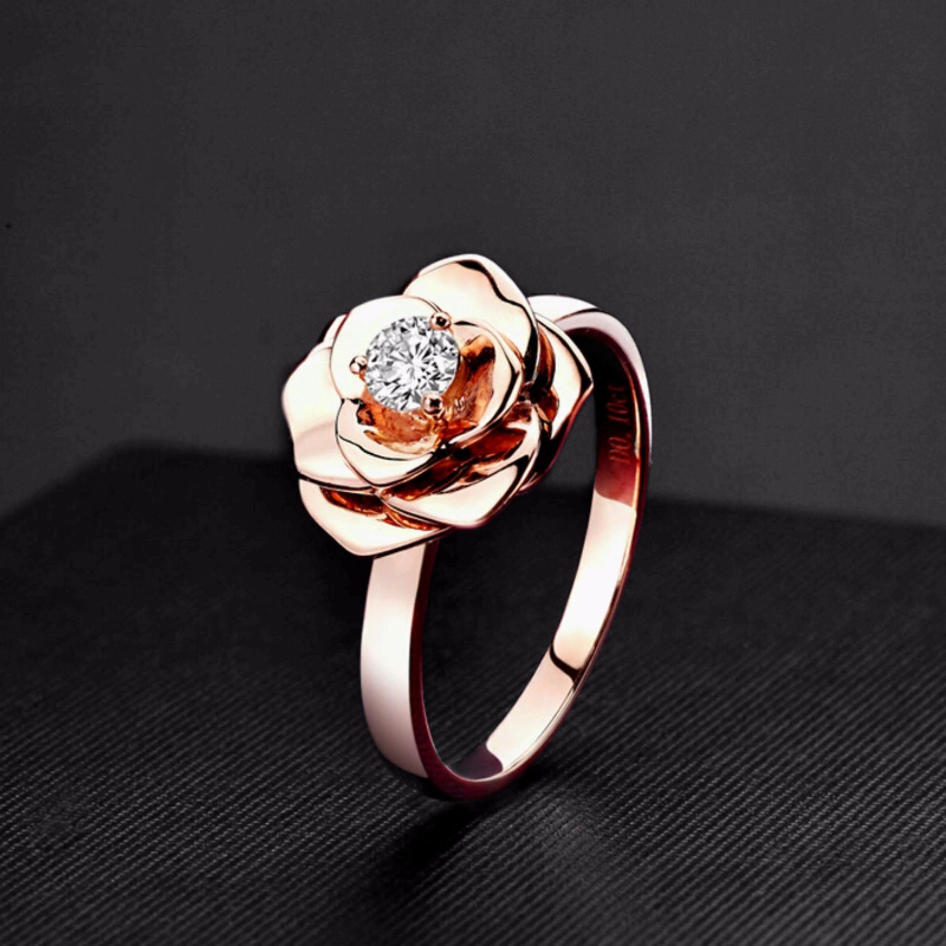 Tempat Jual Lihat Tiaria Djxdz011 Kalung Emas Berlian For Update Rose Ring Cincin Perhiasan Kawin Resplendent Tunangan Wanita 9k With